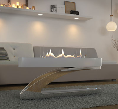 Elegant Glass Fireplace
