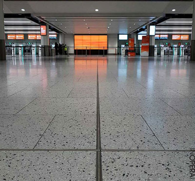 New conglomerate tile flooring at Gatwick Airport is plane sailing