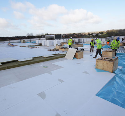 Magply specified for roof build up on Ballymena large church facility